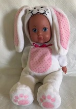 "Doll GIRL Pink White BUNNY RABBIT Costume 9"" soft body plastic Head/hand... - $14.84"