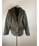 Vintage Koos Van Den Akker Cocoon Coat 10 M Black White Gray Patchwork H... - $222.74