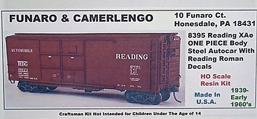 Funaro F&C HO READING XAe Steel Autocar w/ Reading Roman decals Kit 8395