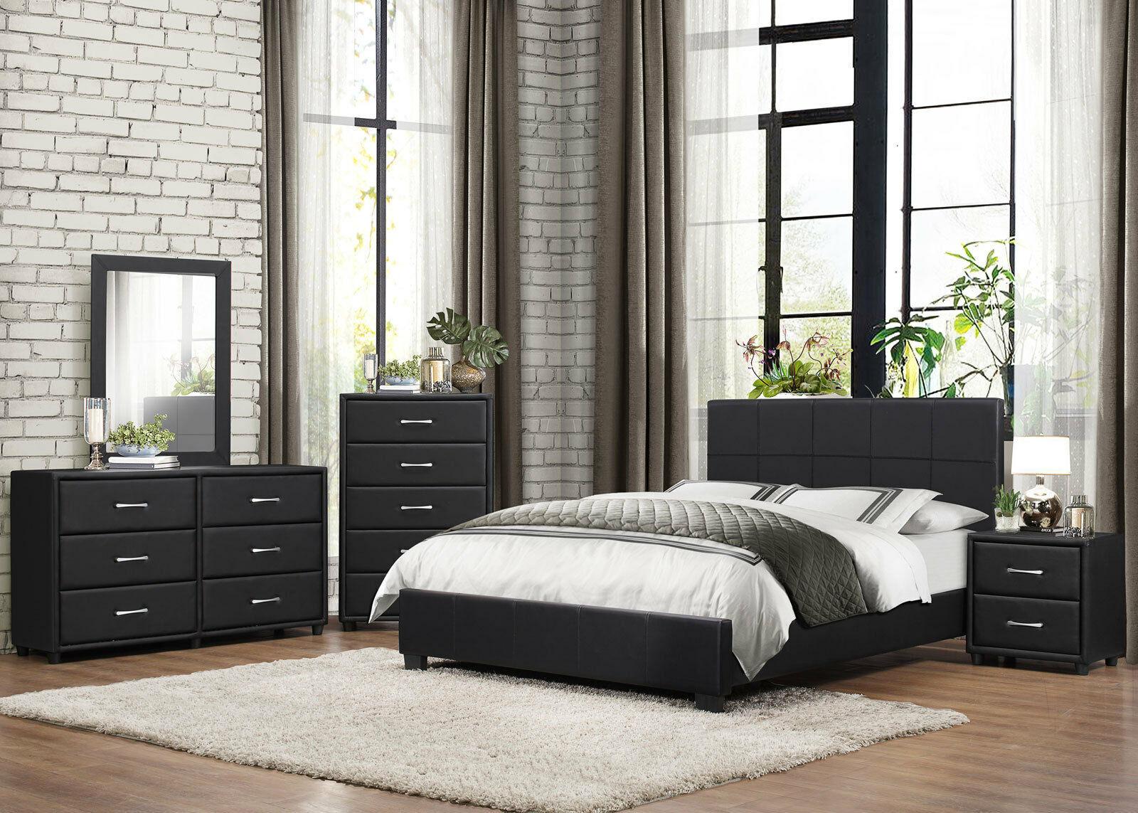 NEW BIRCHDALE 5 Pieces Modern Black Bedroom Suite W. Queen