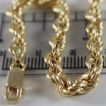 18K YELLOW GOLD CHAIN NECKLACE 5 MM BIG BRAID ROPE LINK 19.70 IN. MADE IN ITALY image 3