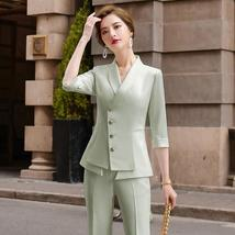 Women's High Quality Solid White Blazer Jacket Business Suit image 4