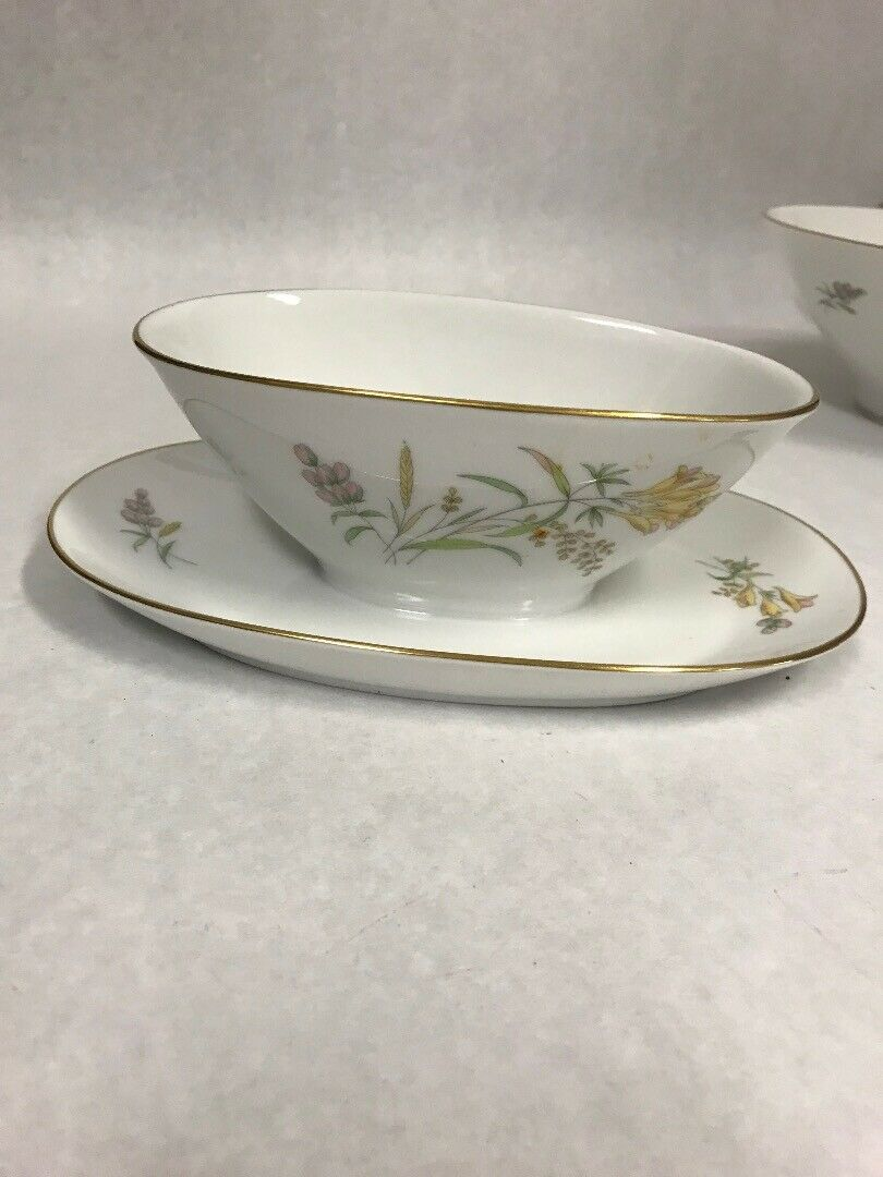 Primary image for Rosenthal Sommerbluten Summer Blossoms Bettina Gravy boat under plate gold edge