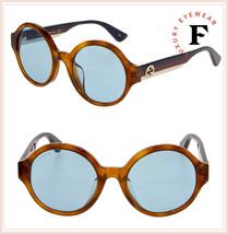 GUCCI 0280 Brown Sylvie Stripe Blue Round Unisex Sunglasses GG0280SA Authentic - $241.56