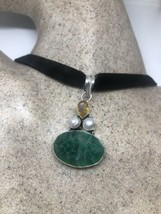 Vintage Raw Emerald Silver Necklace Pearl Citrine Choker - $118.80