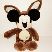 "Mickey Mouse Plush in Brown Easter Bunny Costume 15"" with Embroidered Eg... - $19.80"