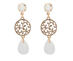 New pendientes mujer moda Alloy Leaf Women Dangle Earrings White Opal - $14.99