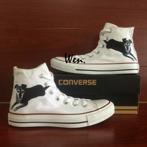Pet Dog Design Hand Painted Converse Shoes White High Top Canvas Sneakers - $145.00