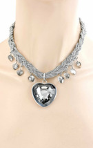 Dunkel Grau Herz Anhänger Halskette, Gedreht, Silber Ton Gothic Punk Modeschmuck - $14.35