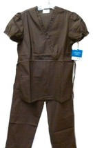 Brown Scrub Set XL V Neck Top Drawstring Pants Women's Medical Uniforms ... - $34.89