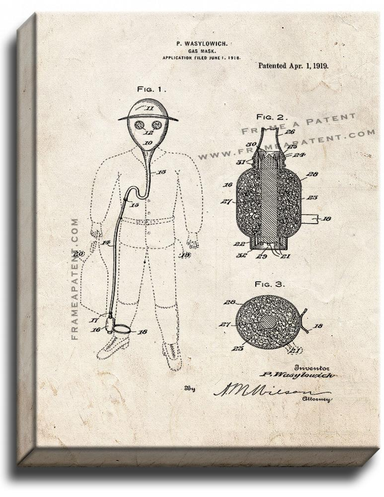 Primary image for Gas Mask Patent Print Old Look on Canvas