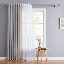 Fragrantex Linen Sheer Curtain Panels for Bedroom 84 inches Natural Look... - $19.13