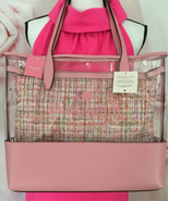 KATE SPADE NWT ASH SEE THROUGH TWEED LARGE TRIPLE COMPARTMENT TOTE BAG P... - $185.00