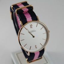 CAPITAL WATCH QUARTZ MOVEMENT 36 MM ROSE CASE BLUE AND PINK FABRIC BAND VINTAGE image 1