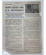 Admiral Thomas H. Moorer Signed Autographed Vintage 8.5x11 Magazine Photo - $29.99