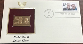 WORLD WAR II : Atlantic Charter First Day Gold Stamp Issue Sep. 3, 1991 - $5.50