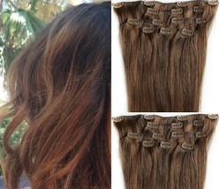 """18"""",20"""",22"""",24"""" 100% Remy Human Highlighted Hair Extensions 7Pcs Clip in #4/30  - $69.29+"""