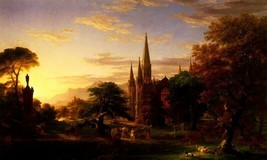 The Return Medieval Autumnal Evening Dead Warrior Painting By Thomas Cole Repro - $10.96+