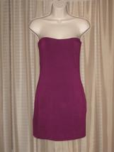 O AUX Dress Purple Solid Knit Summer Strapeless Pencil Bodycon Mini Size S - $22.99