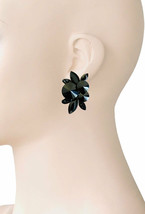 "1.5"" Drop Basic Black Cluster Clip On Earring Casual Chic Classy Costume... - $16.63"