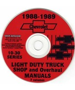 1988-1989 Chevrolet Light Duty Truck Shop and Overhaul Manual CD 10-30 Series - $32.91