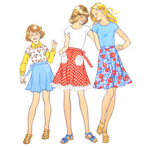Vtg 70s Simplicity 6869 Girls Cap Sleeve Knit Top Flared Skirt Patch Poc... - $6.95