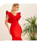 Sexy Red Ruffle Bodycon Sleeveless Mermaid Club Celebrity Evening Runway... - $89.85+