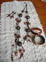 Vintage BOHO Baubles & Beads Necklace Earrings Bracelets Amber Rust Copper image 2