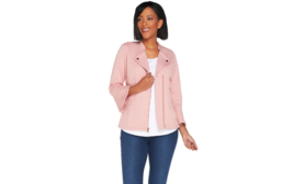 Isaac Mizrahi Live! Knit Motorcycle Jacket w Bell Sleeves BLUSH PINK L  ... - $38.61