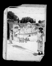 2 ANTIQUE  PHOTOS -COOLIES CARRYING LIKELY BRITISH COLONY MAN W PITH-GAZEBO - $27.00