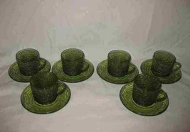 Lot Of 12 Avocado Green Anchor Hocking SORENO Glass Dishes 6 Cups 6 Saucers - $38.52
