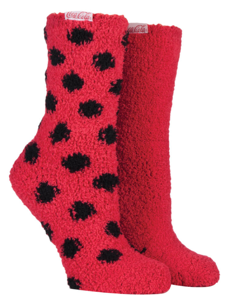 Coca Cola - 2 Pack Ladies Polka Dot Striped Warm Cosy Fluffy Bed Lounge Socks