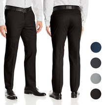 Men's Formal Slim Fit Slacks Trousers Flat Front Business Dress Pants image 1
