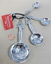 4pc CHRISTMAS TREE & PRESENTS measuring spoon set Silver Metal CHRISTMAS... - $19.27