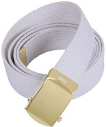 White Military Cotton Web Belt with Gold Buckle - $7.99+