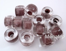 25 5 x 9mm Czech Glass Roller Beads: Crystal - Brown Lined - $2.26