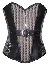 Printed Cotton & Leather Work Waist Shaper Bustier Overbust PLUS SIZE Corset Top - $78.57