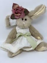 "Bearington Collection Plush Bunny Rabbit Spring White Dress Flower Hat 14""  - $16.34"
