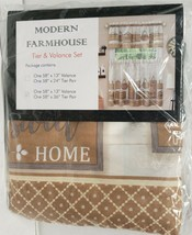 "3pc Curtains Set: 2 Tiers(58""x36"") & Valance(58""x13"") MODERN FARMHOUSE,b... - $21.77"