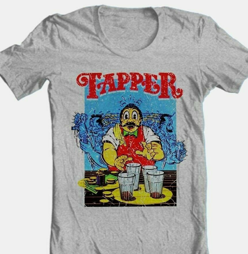 Tapper T-shirt retro 80's arcade game video game cotton blend graphic grey tee