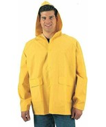 Mens Bright Yellow Waterproof Heavy Duty PVC Hooded Rain Jacket - $19.99+