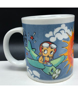 BETTY BOOP COFFEE MUG CUP pudgy vintage airplane parachute sun jet plane... - $23.22