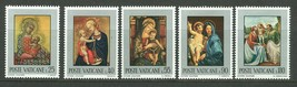 1971 Madonna Child Paintings Set of 5 Vatican Stamps Catalog Number 504-08 MNH