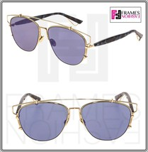 CHRISTIAN DIOR TECHNOLOGIC Gold Spotted Blue Lilac Flat Mirrored Sunglas... - $326.70