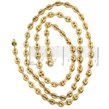 18K YELLOW GOLD BIG MARINER CHAIN 4 MM, 20 INCHES, ITALY MADE, ROUNDED NECKLACE image 2