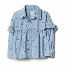 Gap Kids Girls Denim Chambray Ruffled Floral Blue Long Sleeve Button Shi... - $24.70