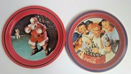 "(2) Coca Cola Metal Tin Tray Santa ""When Friends Drop In"" & ""Girls Softball Team - $23.79"