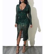 Women's Mini-Midi Party Dress - Sequin Trimmed / Front Split - $31.00