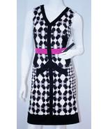 IVANKA TRUMP Black IVY Pink IVORY Dress V-NECK Back Zip 8 $160 FREE SHIP... - $137.42