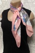 Vintage Glentex Italian XL Scarf Pink Multi Color Floral Print Neck Wrap  - £10.97 GBP